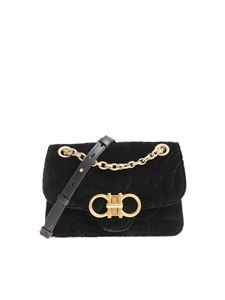 Salvatore Ferragamo - Black velvet shoulder bag