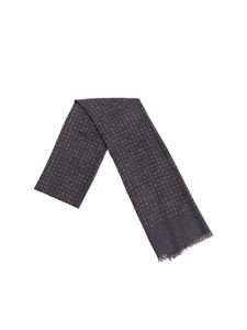 Isaia - Charcoal scarf with polka dots print