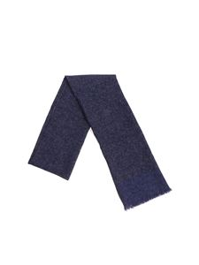 Isaia - Blue scarf with polka dots print