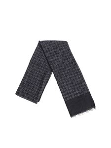 Isaia - Houndstooth charcoal scarf
