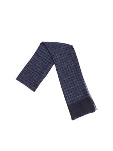 Isaia - Blue houndstooth scarf