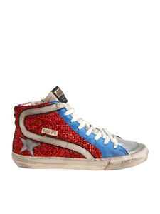 Golden Goose Deluxe Brand - Red Slide sneakers with lamé inserts