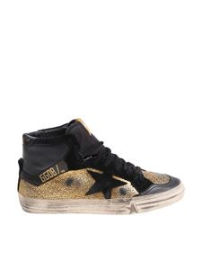 Golden Goose Deluxe Brand - 2.12 black and gold craklè sneakers