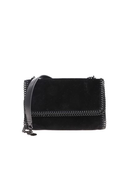 Stella McCartney Fall Winter 18 19 falabella black velvet bag ... cddebbce05bc5