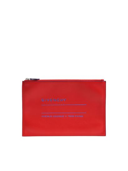 Givenchy - Red clutch with blue logo print