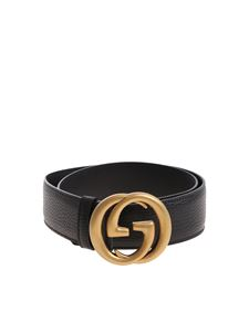 Gucci - Black leather belt with golden buckle