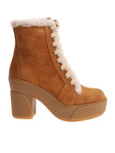See by Chloé - Light brown ankle boots with white inserts