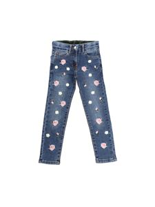 Monnalisa - Blue jeans with floral embroideries