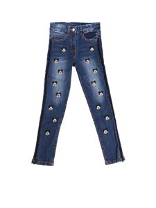 Monnalisa - Blue embroidered Mickey Mouse jeans