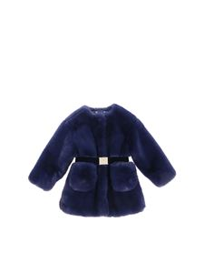 Monnalisa - Blue eco-fur jacket with belt