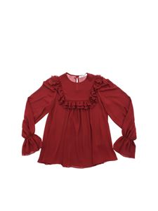 Dondup - Burgundy blouse with ruffles