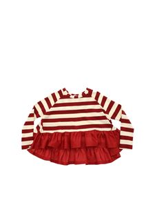 Monnalisa - Red and beige striped sweater