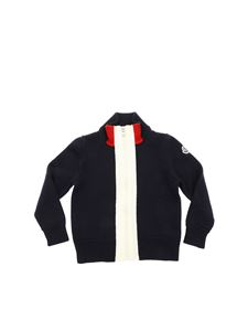 Moncler Jr - Blue cardigan with white and red insert