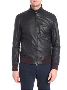 Stewart - Brown grained leather bomber jacket