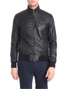 Stewart - Black grained leather leather jacket