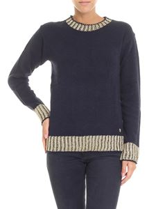 Trussardi Jeans - Blue pullover with golden edges