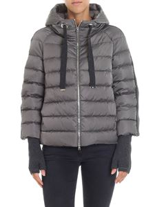Herno - Grey short down jacket with muffs