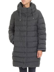 Herno - Anthracite color long down jacket with lamé inserts