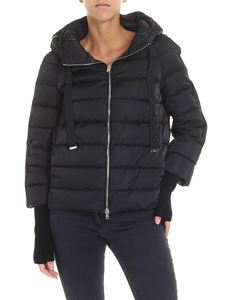 Herno - Black short down jacket with muffs