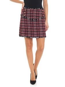 Pinko - Mini gonna Vite in tweed rossa e nera