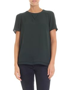 Scotch & Soda - Dark green t-shirt with pierced inserts