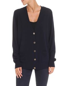 Tory Burch - Navy blue cardigan with logo details