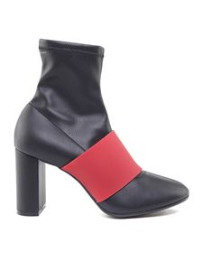 MM6 by Maison Martin Margiela - Black ankle boots with red insert