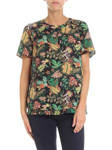 Scotch & Soda - Floral black t-shirt with pierced inserts