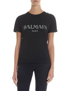 Balmain - Black t-shirt with logo and buttons