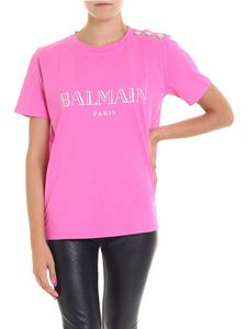 Balmain - Fuchsia t-shirt with logo print and buttons