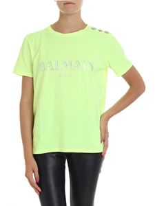 Balmain - Neon yellow t-shirt with logo and buttons