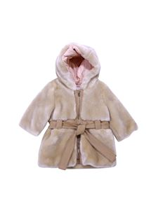 Chloé - Beige eco-fur hooded coat