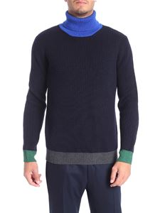 Altea - Blue turtleneck with electric blue collar