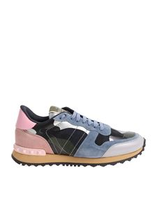 Valentino - Blue and pink camouflage sneakers