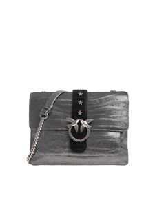 Pinko - Black and silver hammered leather Big Love bag