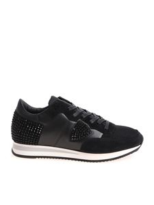 Philippe Model - Tropez L black sneakers with rhinestones