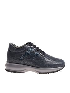 Hogan - Interactive blue sneakers with rhinestones