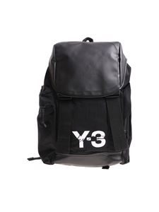 Y-3 Yohji Yamamoto - Mobility black backpack with white logo print