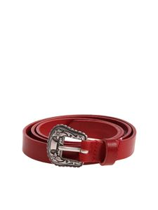 Diesel - Red B-Texy belt with embroidered buckle