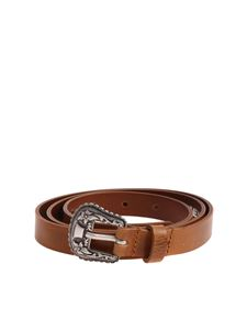 Diesel - B-Texy tan colored belt with embroidered buckle