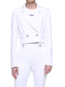 MSGM - Double-breasted cropped white jacket