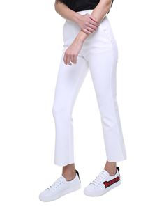 MSGM - White trousers with jeweled buttons