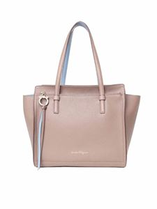 Salvatore Ferragamo - Amy mud-colored double handle bag