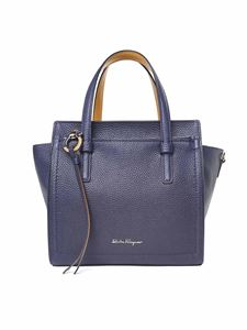 Salvatore Ferragamo - Amy small blue double handle bag