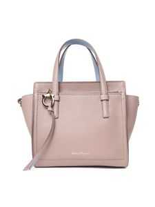 Salvatore Ferragamo - Amy small mud-colored double handle bag