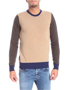 Woolrich - Blue and brown camel crew neck pullover