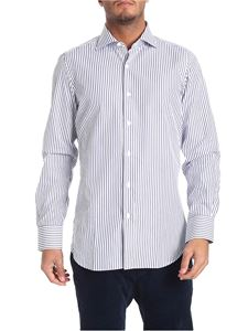 Finamore 1925 - White and blue striped Milano shirt