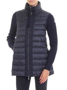 Moncler - Blue tricot-effect down padded cardigan