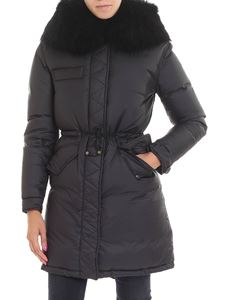 Mr&Mrs Italy - Black down jacket with black fur