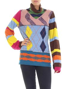 I'm Isola Marras - Turtleneck sweater with stripes and rhombus pattern